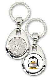 Schlüsselanhänger - Metall - Baby Tux - Einkaufswagen-Chip