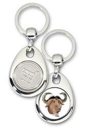 Schlüsselanhänger - Metall - GNU - Einkaufswagen-Chip
