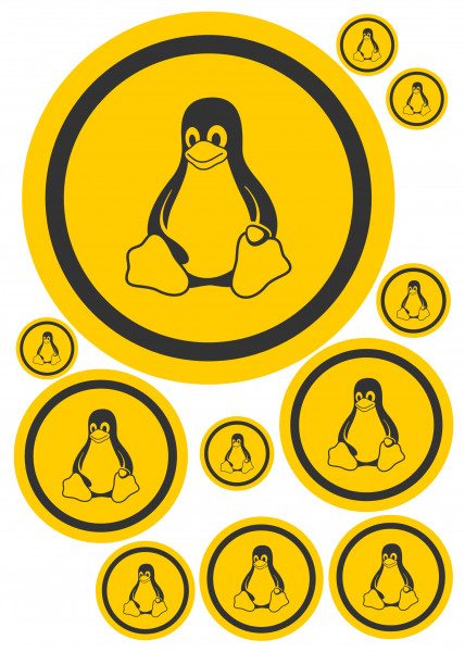 Maxi-Sticker - Tux orange A4