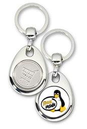 Schlüsselanhänger - Metall - Linux inside - Einkaufswagen-Chip