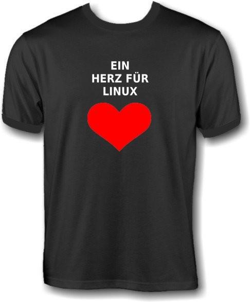 T-Shirt - Ein Herz für Linux