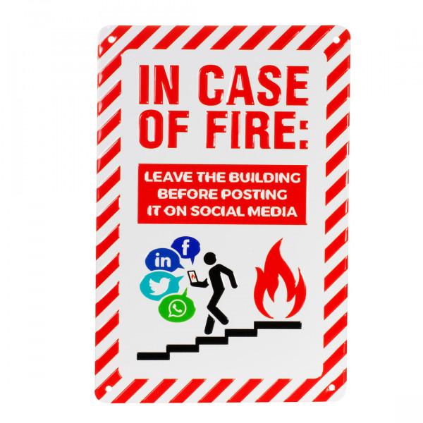 Blechschild In Case Of Fire