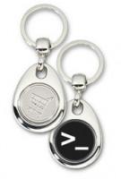Schlüsselanhänger - Metall - Linux Konsole - Einkaufswagen-Chip