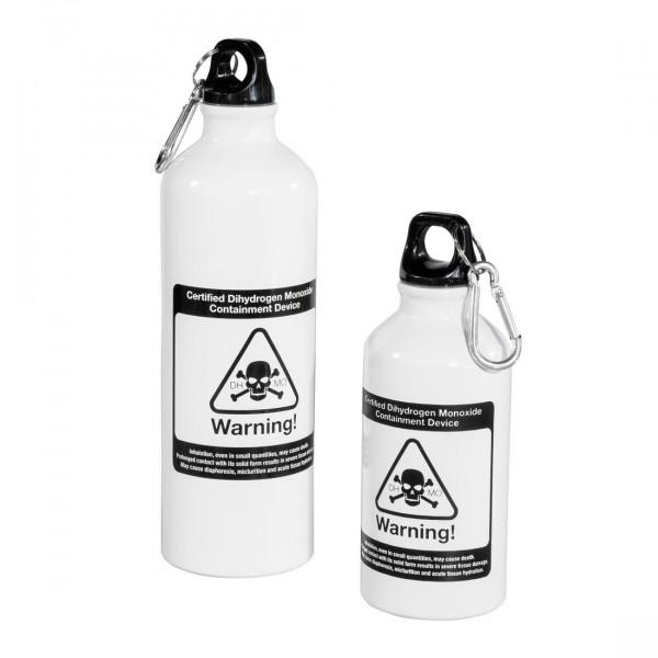 Trinkflasche Dihydrogen Monoxide mit Karabiner